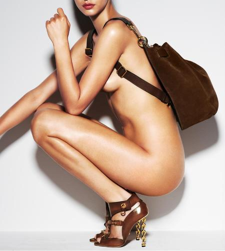 Tom Ford handbag e-commerce site - naked women selling handbags - Tom Ford bag collection - designer handbags - brown bag - shopping news - handbag.com