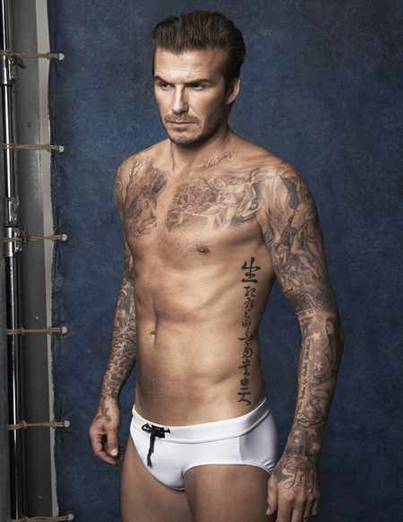 david beckham hm swimwear - tight white pants - beckham topless - handbag.com