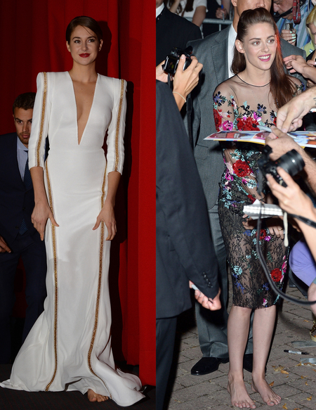 Shailene Woodley and Kristen Stewart barefoot at premieres