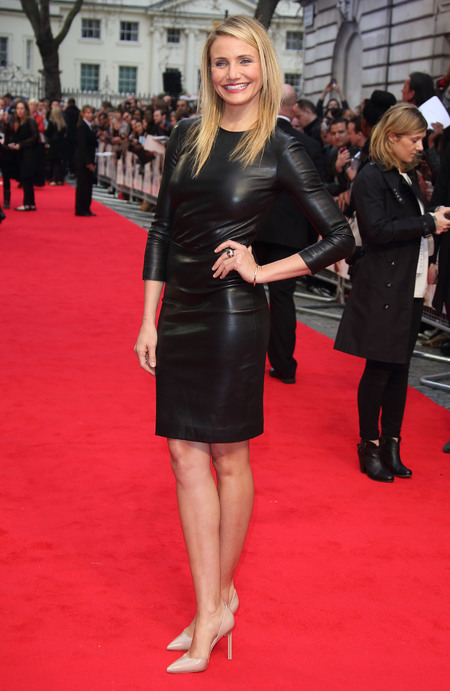Cameron Diaz - red carpet - the other woman - how to wear leather - black long sleeved leather dress - handbag.com