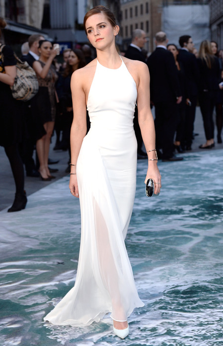 Emma Watson - wearing white ralph lauren dress - noah premiere - london