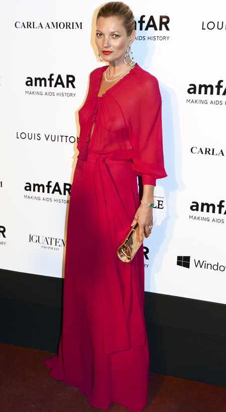 kate moss at amfar gala - see through red pink dress by ysl saint laurent - kate moss iconic fashion moments - handbag.com