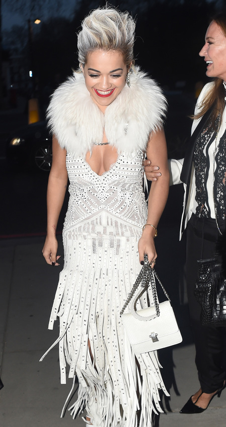 Rita Ora and white hair in roberto cavalli at V&A italian glamour fashion exhibition launch - celeb fashion news - shopping bag - handbag.com