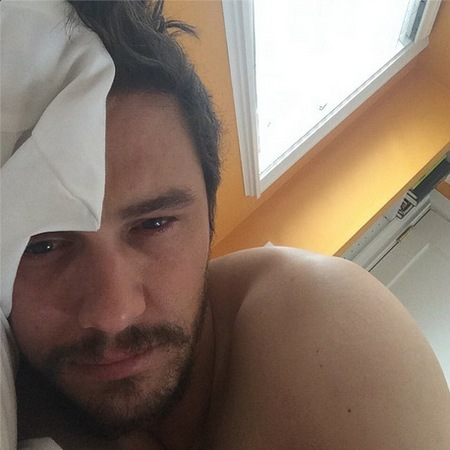 james franco - topless in bed - creep instagram selfie - breakfast in bed - handbag.com