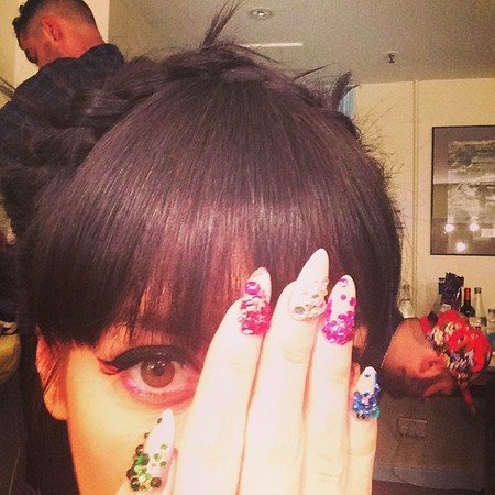 Lily Allen's crystal-encrusted nails