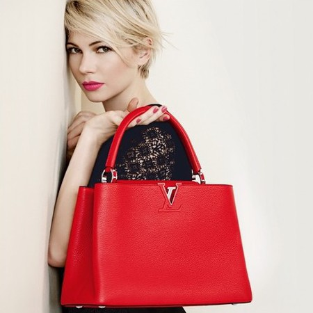 Michelle Williams for Louis Vuitton handbag campaign - red bag - new lockit louis vuitton bag - new designer bag - celebrity handbags - handbag.com