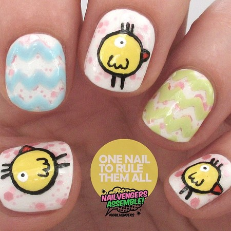 one nail to rule them all chick nails  - easter nail art - beauty bag - handbag