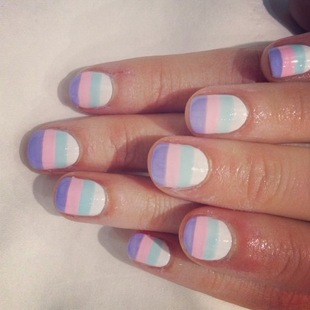 wah nails easter stripes  - easter nail art - beauty bag - handbag
