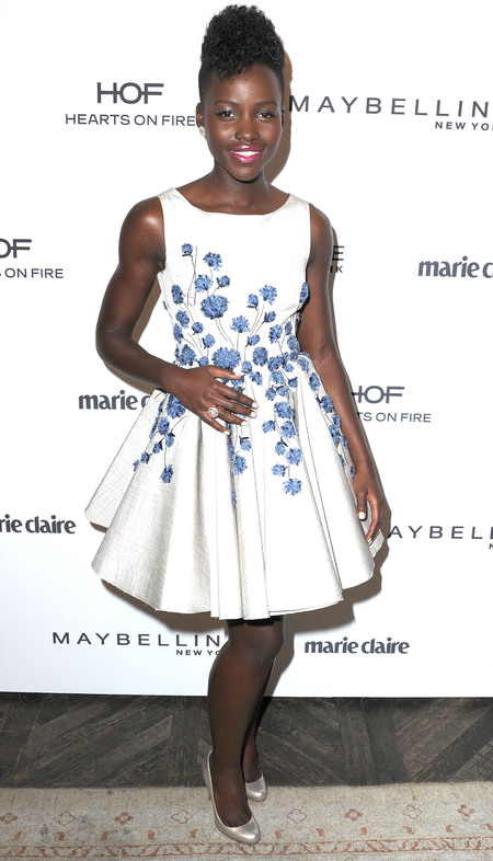 lupita nyongo white and blue floral dress - white dress trend - floral trend - celebrity style icons - 12 years a slave - handbag.com