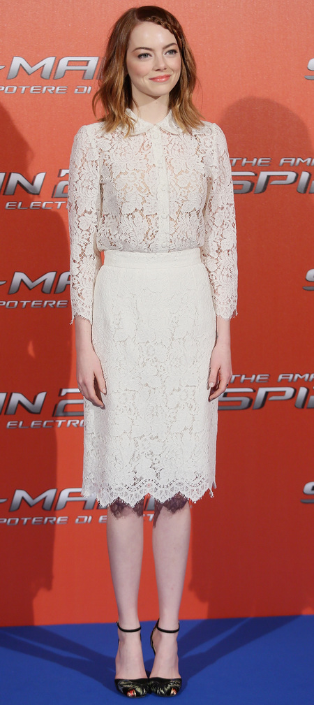 White Dolce & Gabbana lace skirt and shirt