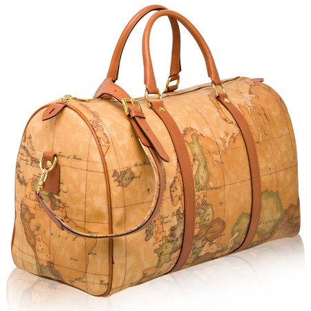 Alviero Martini 1 Classe map print travel bag - big holiday bag - weekend break holdall - designer travel luggage - handbag.com