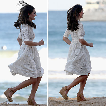 kate middleton running in heels - royal tour of australia - gym bag - handbag