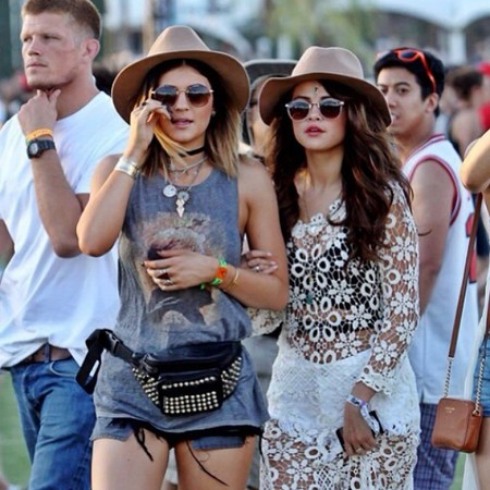 Kylie Jenner and Selena Gomez at Coachella 2014