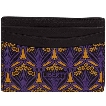 liberty londn print - card holder - purple and black - travel accessories - handbag.com