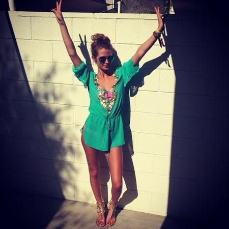 millie mackintosh - festival fashion - coachella - style diary - green beach dress - handbag.com