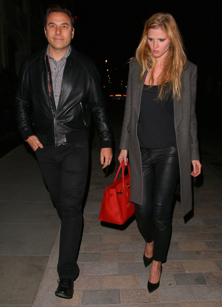Lara Stone's red Birkin bag