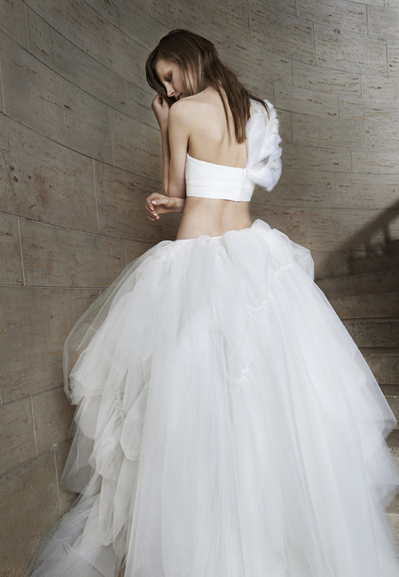 vera wang edgy wedding dresses - crop top dress - shopping bag - handbag