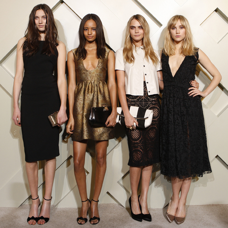 cara delevingne-suki waterhouse- malaika firth-Matilda Lowther-burberry models-shanghai event-black tie fashion - handbag.com