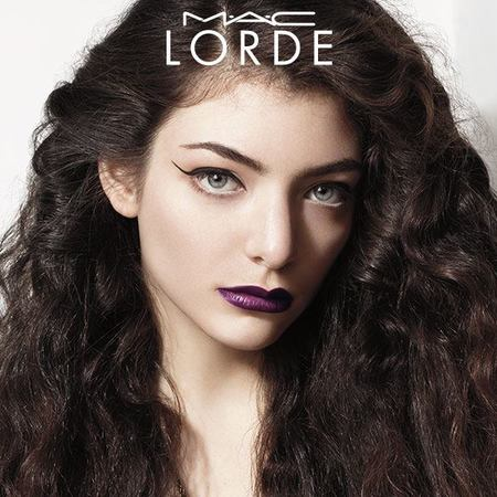 First look at MAC LORDE collaboration - Lorde wearing purple lipstick in MAC ad - beauty bag - handbag
