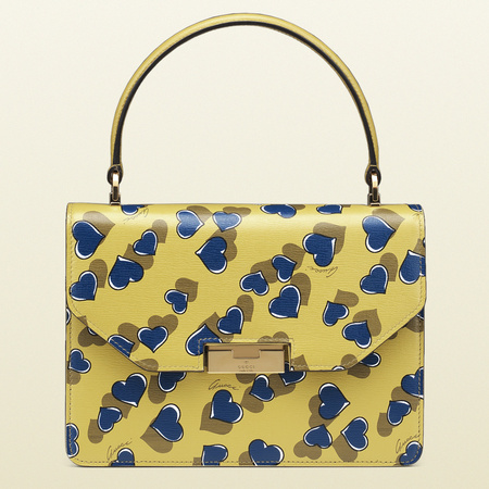 gucci handbag - heartbeat print - hearts - yellow - spring summer 2014 - prints fashion trend - handbag.com