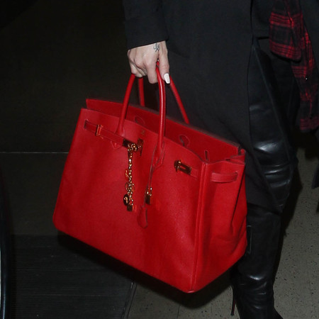 khloe kardashian - red handbag - hermes birkin bag - designer handbag collection - handbag.com