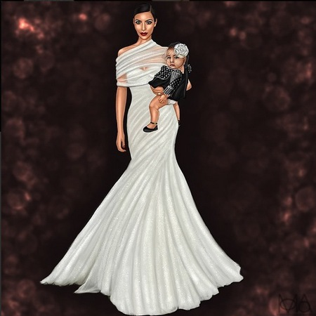 kim kardashian wedding dress - north west bridesmaid - kim and kanye west wedding - bridal dress designer - handbag.com