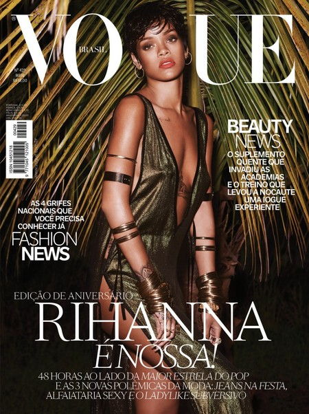 rihanna-vogue-brazil-cover-2014-green dress-sexy photoshoot-short hair-handbag.com