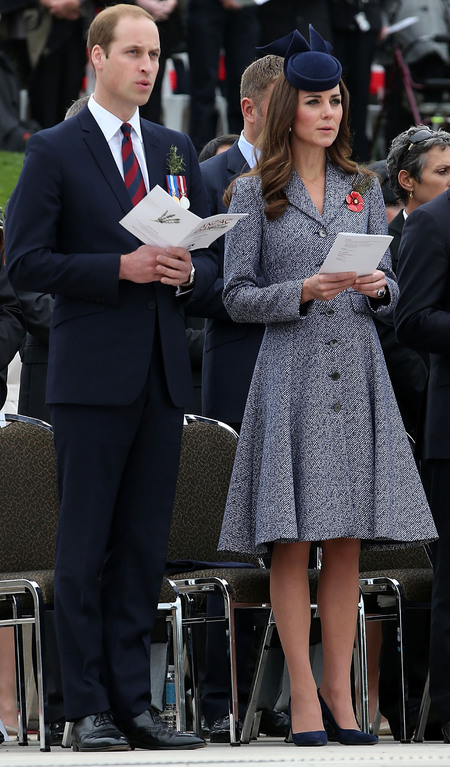 kate middleton - prince william - royal tour of australia and new zealand 2014 - memorial service - blue coat - navy hat - style - outfits - wardrobe - royal fashion - handbag.com