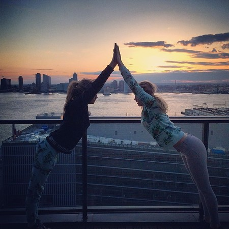 cara delevingne and suki waterhouse doing yoga together in new york - new celebrity workout trend - gym bag - handbag