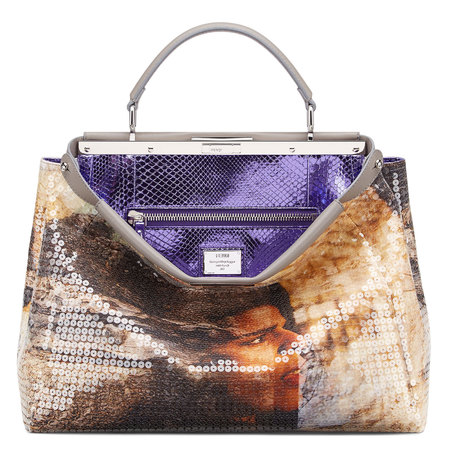 Celebrities customise fendi peekaboo bags for auction - geoegia may jagger mosaic fendi peekaboo bag - shopping bag - handbag