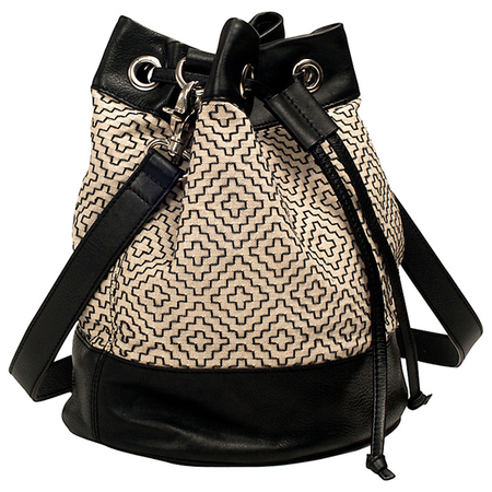 festival bags-french connection-john lewis-duffle bag-crossbody-black and white bag - handbag.com