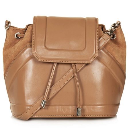 festival bags-topshop-brown leather and suede crossbody-duffle bag-tie drawstring - handbag.com