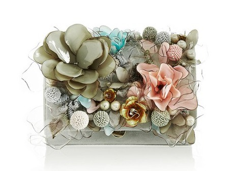 Marchesa marisol floral-embellished suede clutch - best designer wedding clutch bags - shopping bag - handbag