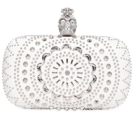 Alexander McQueen nappa leather skull box clutch - best designer wedding clutch bags - shopping bag - handbag