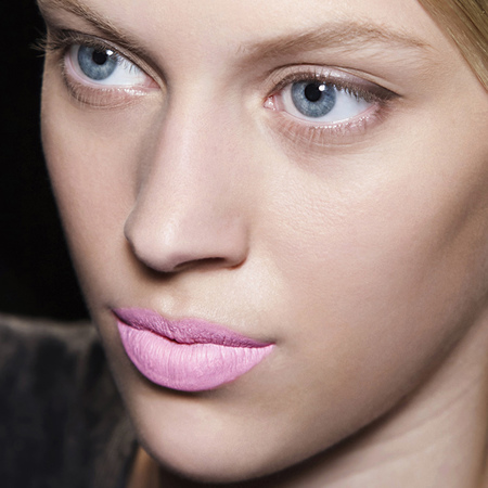 matte pink lipstick-purple lipstick-bright-bold-colourful-statement-lips-makeup trends-prabal gurung-new york fashion week-spring summer 2014-handbag.com