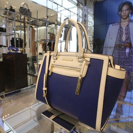 michael kors-selma satchel bag-blue and white-shaghai-designer handbag store opening-handbag.com