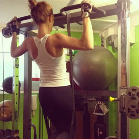 Millie Mackintosh chin ups - iron gym - workout - 8 steps - handbag.com