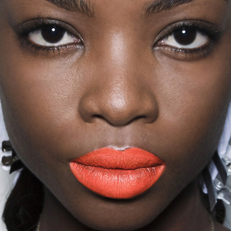 orange lipstick-bright-bold-colourful-statement-lips-makeup trends-prabal gurung-new york fashion week-spring summer 2014-handbag.com