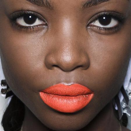 orange lipstick-bright-bold-colourful-statement-lips-makeup trends-prabal gurung-new york fashion week-spring summer 2014-handbag.com