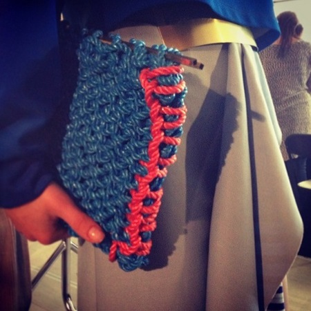 Roksanda Ilincic knitted handbag AW14 collection - crafty bags - new bag materials - knitted bags - bag trends - shopping bag - feature - handbag.com