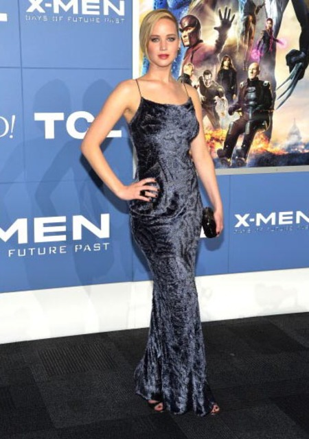 jennifer lawrence - x men - future's past - 90s blue crushed velvet dress - handbag.com