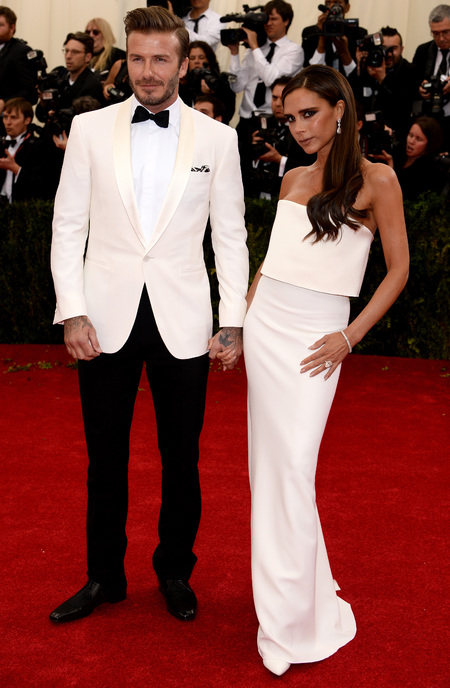victoria beckham-david beckham-met gala 2014-white dress-white suit-matching outfits-celebrity couple his and hers style - handbag.com