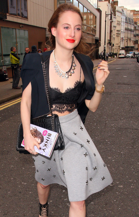 Rosie Fortescue - black bra, bralet - lace crop top - binky book launch - handbag.com