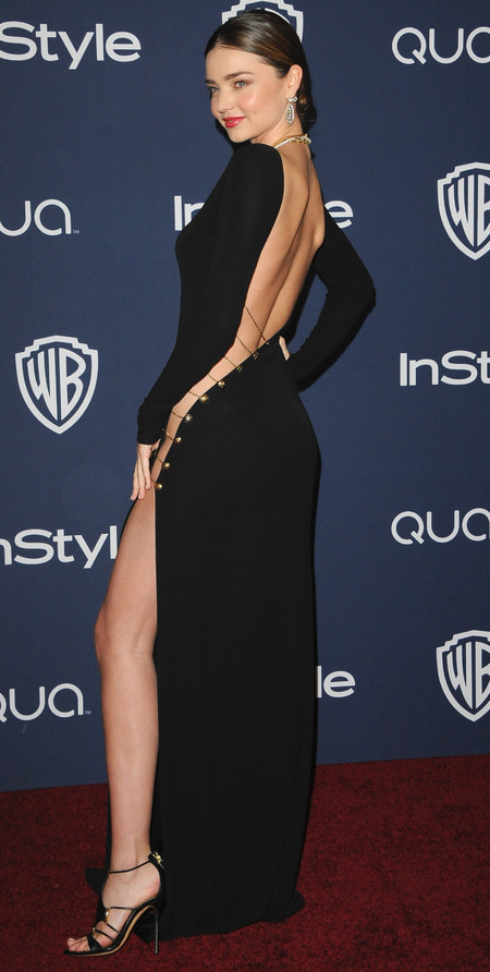 miranda kerr-safety pin dress-versace-sexy celebrity black dress-lbd-red carpet-handbag.com