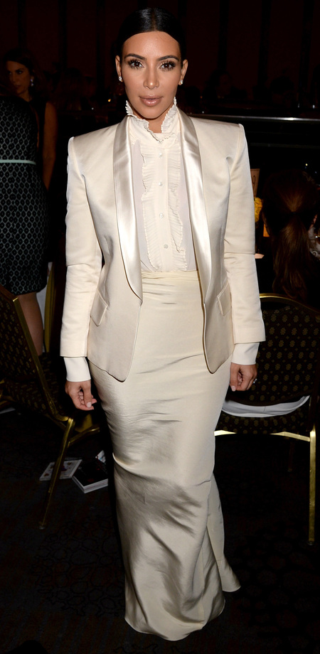 kim kardashian-wedding dress-kanye west-lanvin-balmain-alexander mcqueen-white skirt with train-white shirt-white blazer-armenian charity gala-handbag.com
