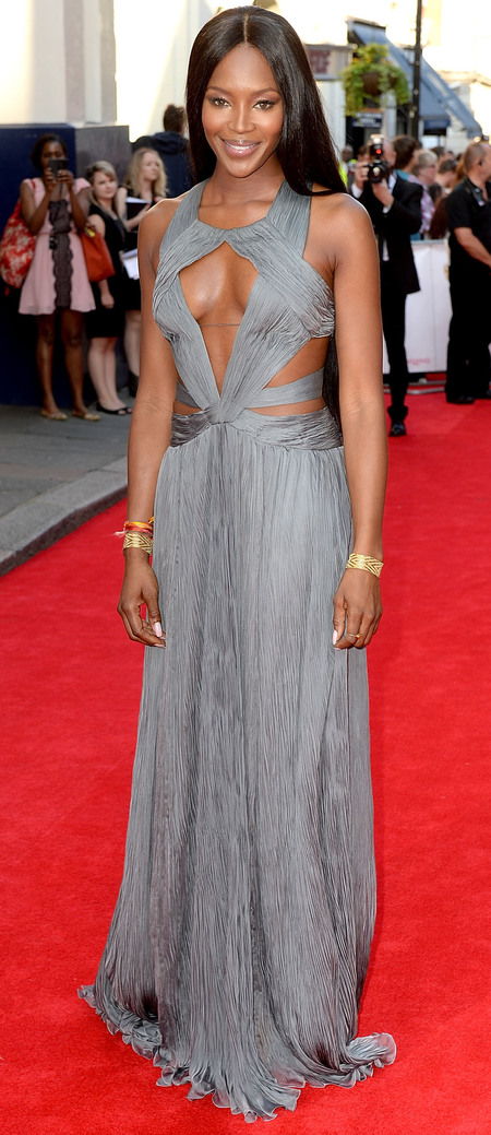 naomi campbell-grey silver dress-cleavage-red carpet-tv baftas 2014-British Academy Television Awards-handbag.com