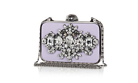 River Island lilac embellished box clutch bag - wedding guest clutch bags - shopping bag - handbag