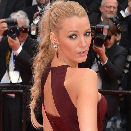 blake lively-cannes-film festival-2014-long hair-plait-ponytail-red dress-gucci dress-burgundy-red carpet-loreal model-handbag.com