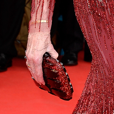 Jane Fonda's ruby red clutch bag