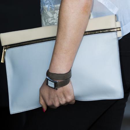 louise adams-victoria beckham sister-clutch bag -david beckham hm swimwear-blue handbag-handbag.com